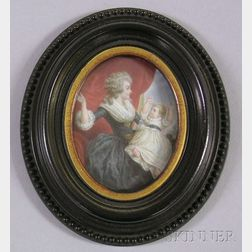 Framed Miniature Painted Portrait on Ivory of the Duchess of Devonshire with Child.