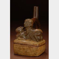 Pre-Columbian Painted Stirrup Spout Pottery Vessel