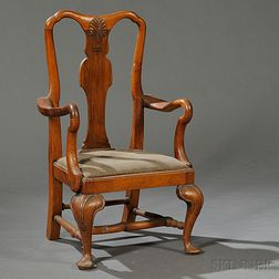 Queen Anne-style Walnut Child's Armchair