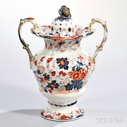 Stone China Amherst Japan   Pattern Potpourri Vase and Cover