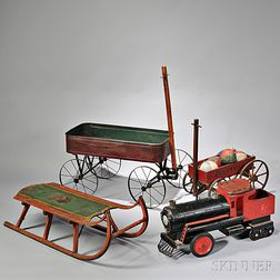 Paint-decorated Sled, Two Wagons and a Tin Locomotive