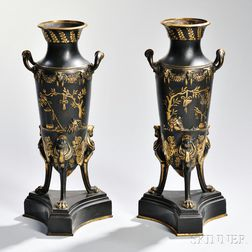 Pair of Gilt and Patinated Bronze Empire Vases