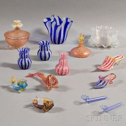 Twenty-one Pieces of Mostly Venetian Glass