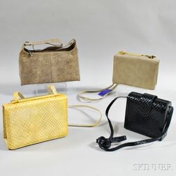 Four Stuart Weitzman Embossed Leather Handbags