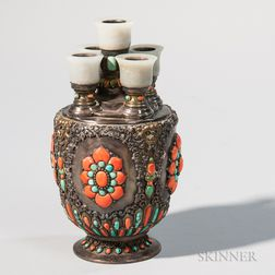 Silver and Gilt-copper Repousse Candleholder