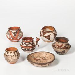 Six Southwest Polychrome Pottery Vessels