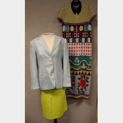 Emanuel Ungaro Paris Yellow Leather Skirt, a Giorgio Armani Light Blue Cashmere and Silk Blazer, and a John Galliano Long Knit Dress, s