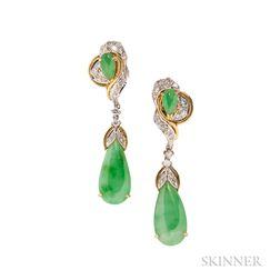 18kt Gold, Jade, and Diamond Earrings