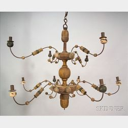 Painted and Gilded Wooden Chandelier