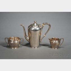 Three Piece Assembled Arts & Crafts Sterling Coffee Set