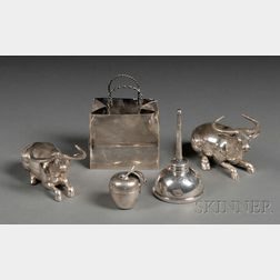 Five Small Whimsical Silver Tableware Items