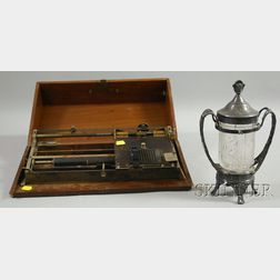 Hall Type-Writer Co. Typewriter and a Reed & Barton Victorian Aesthetic   Silver-plated and Pressed Glass Pickle Caster