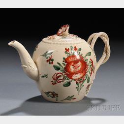 Enameled Creamware Teapot and Cover