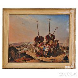 European (Orientalist) School, 19th Century      Caravan Fleeing an Advancing Army