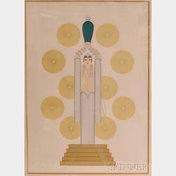 Romain De Tirtoff (Erté) (Russian, 1892-1990)      Emerald Vase