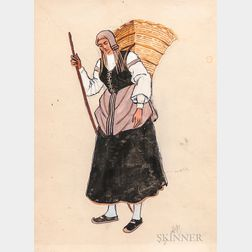 Alexandre Nikolaevich Benois (Russian, 1870-1960)    Two Works: Peasant Woman with Basket