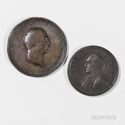 "Bronze 1778 General Washington Medal, and a George Washington Liberty and Security Token with ""Assylum"" Edge"