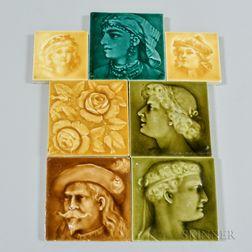 Seven American Encaustic Tiling Company Art Pottery Tiles