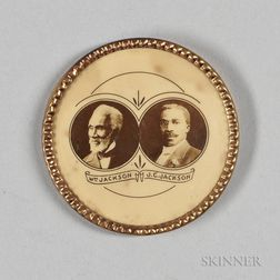 "Round Metal Button Picturing ""Wm Jackson"" and ""J.C. Jackson,"""