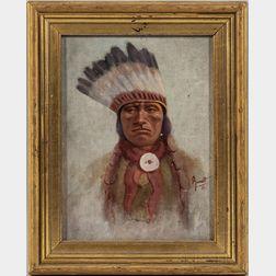 Oil on Canvasboard Portrait of an Indian Man
