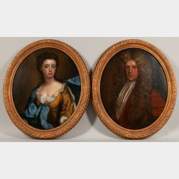 School of Sir Peter Lely (British, 1618-1680)      Pair of Oval Pendant Portraits