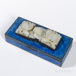 Jade Belt Buckle on Blue-enameled Metal Box