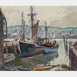 Emile Albert Gruppé (American, 1896-1978)      Gloucester Dock Scene