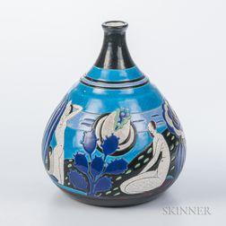 Atelier Primavera Polychrome Longwy Enameled Vase