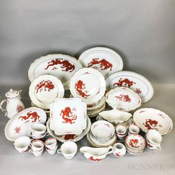 Sixty Pieces of Meissen Sepia Dragon Porcelain Tableware.     Estimate $800-1,200