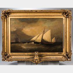 British School, Late 19th Century      Sloop in Stormy Seas