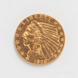 1928 $2.50 Indian Head Gold Coin.     Estimate $200-400