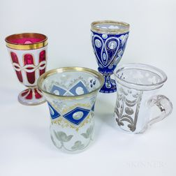 Four Bohemian Overlay Glass Vessels