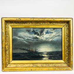 American School, 19th Century       Nighttime Nautical Scene with a Steamship