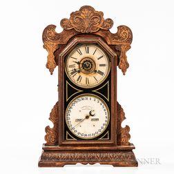 """Waterbury """"Oswego"""" Oak Calendar Shelf Clock"""