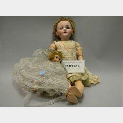 Five Dolls Including Kestner Bisque Character and Child's Tea Set