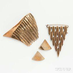 Three Pieces of Modern Brass Jewelry