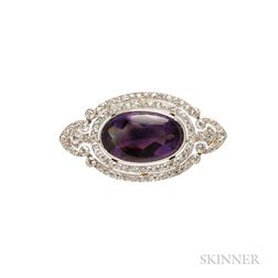 Edwardian Platinum, Amethyst, and Diamond Brooch, Kohn & Co.