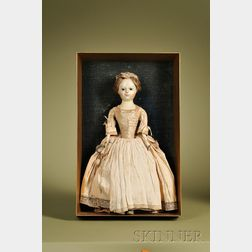 Queen Anne Memorial Doll in Giltwood Shadow Box Case