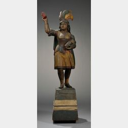 Carved and Painted Indian Princess Tobacconist Figure