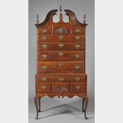 Queen Anne Walnut and Maple Fan-carved Scroll-top High Chest of Drawers