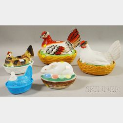 Four Hen-on-nests and an Easter Rabbit in Basket