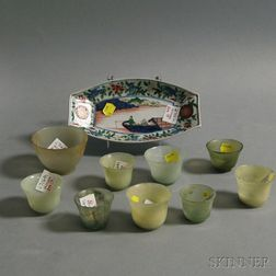 Ovoid Japanese Porcelain Tray and Nine Celadon Cups