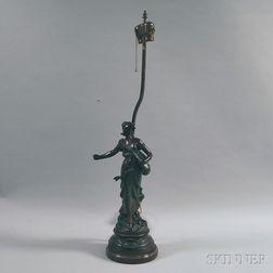 Art Nouveau Patinated Cast Metal Figural Table Lamp