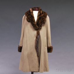 Mink-trimmed Melange Cashmere Overcoat