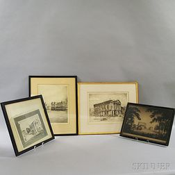 Four Framed Boston Area Engravings