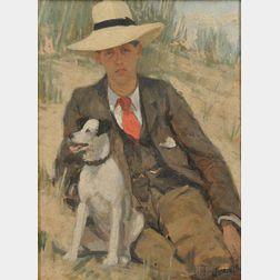 Attributed to Sarah Henrietta Purser (Irish, 1848-1943)      Portrait of a Man with his Dog