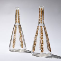 "Pair of R. Lalique ""Six Figures"" Pattern Decanters"