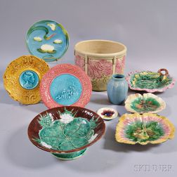 Ten Pieces of Majolica and Art Pottery