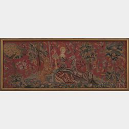Framed Tapestry Fragment of a Unicorn and Lion Flanking a Woman