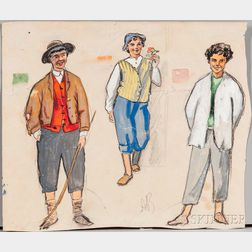 Alexandre Nikolaevich Benois (Russian, 1870-1960)      Three Young Men